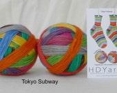 TOKYO SUBWAY – hand-dyed self-striping sock yarn, fingering weight