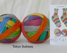 TOKYO SUBWAY – hand-dyed self-striping sock yarn, fingering weight