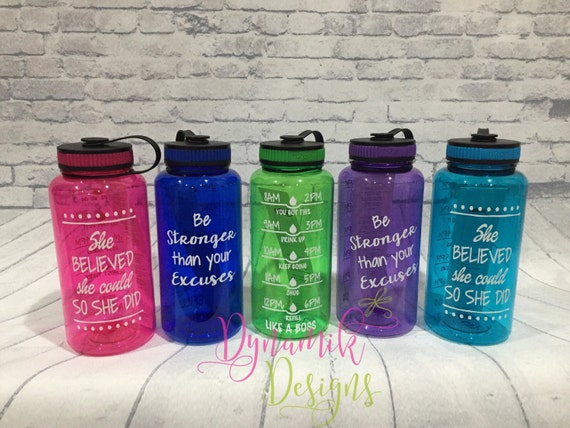 Motivational Water Bottle 34oz H2GO With Intake By