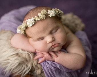 Newborn Flower Crown, Baby Flower Crown Headband, newborn girl photo props, baby floral crown, wedding headpiece, baby props for photography