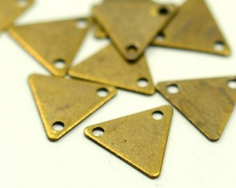 100 Pcs.  Antique  Brass 9x10 mm Triangular Stamping Geometric Findings-2 Hole