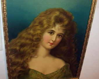 Victorian Lady Portrait Wavy Long Brown Hair Original Glass Antique Chromolithograph Large Carved Gold Wood Frame Home Decor Picture
