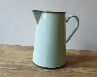 French Enamel Water Pitcher Water Jug Water Jar Watering Can Kitchen Decor
