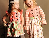 Buy 2 Get 1 Free Cinnamon Sugar Double Breasted Top & Dress PDF Sewing Pattern Flutter or Long Knit Sleeves Girls Sz 6-12M to 12