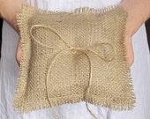 Burlap ring pillow, wedding ring pillow, ring bearer pillows, rustic bearer pillow