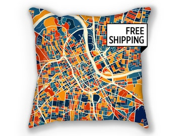 Nashville Map Pillow - Tennessee Map Pillow 18x18