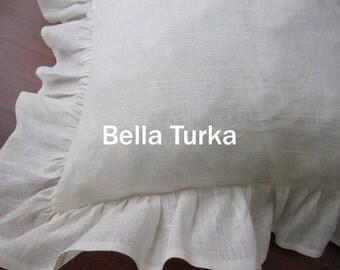 Linen Ruffle Euro Pillow Sham, Ivory Pillow Sham, 26x26, 20x36, Standard King Sham, Shabby Chic Bedding, Euro Sham Pillows, Linen Euro Sham