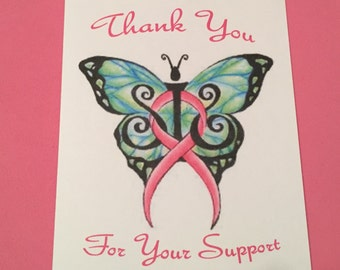 Breast Cancer Awareness Note Cards Blank Inside 12 Pk Thanks for Your Support