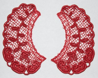 Lace Collar in RED for 18 inch dolls such as American Girl #CR04