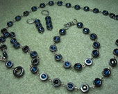 Hematite and Czech glass beads set - necklace, bracelet and earrings