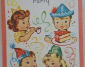 Kids birthday party invitations by Sangamon 1950s vintage unused paper epherma