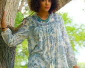 Bohemian poet sleeve Indian cotton toile blue soft festival boho blouse top 70s gypsy peasant tribal hippie bohemian shirt