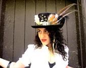 Vintage full size Steampunk black feather top hat VICTORIAN boho Grunge EDWARDIAN Costume Cameo Plumed Fascinator