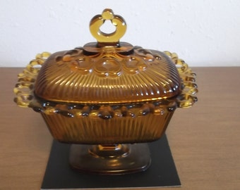 Indiana Glass Amber Footed Candy Dish with Lid