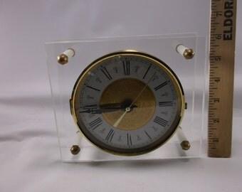 Lucite Clock Vintage Working West Germany Mid Century Modern Atomic Age Roman Numerals .epsteam