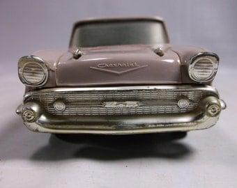 Plastic Promo 1957 Chevrolet Bel Air  4 Door Hardtop  Toy Bank  Car ,rubber tires 4 door  .epsteam