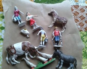 Vintage plastic farm animals and figures
