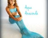 "Mermaid Tail For Swimming! With Monofin and Bikini Top! ""Aqua Anaconda"""