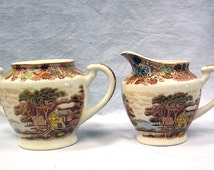Vintage 1940s Nasco Mountain Wood-land Creamer and Sugar Bowl Japan
