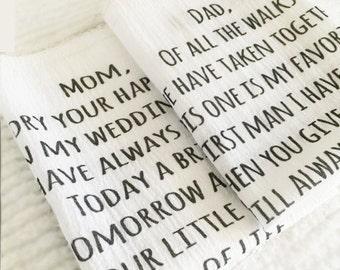 handkerchief, personalized cotton handkerchief, mother of the bride handkerchief, father of the bride handkerchief, personalized hankie