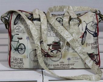 Boston Bag, Satchel Handbag, Handmade Barrel Handbag, Crossbody Vintage Bicycles Blanche Barrel Bag Purse