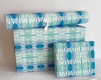 gift wrapping printed paper roll COOL BLUE 24x33 inch A1 size - set of 3 sheets