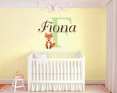 Custom Fox Name Monogram Vinyl Wall Decal #2 Girls and Boys Room Graphics Bedroom Home Decor