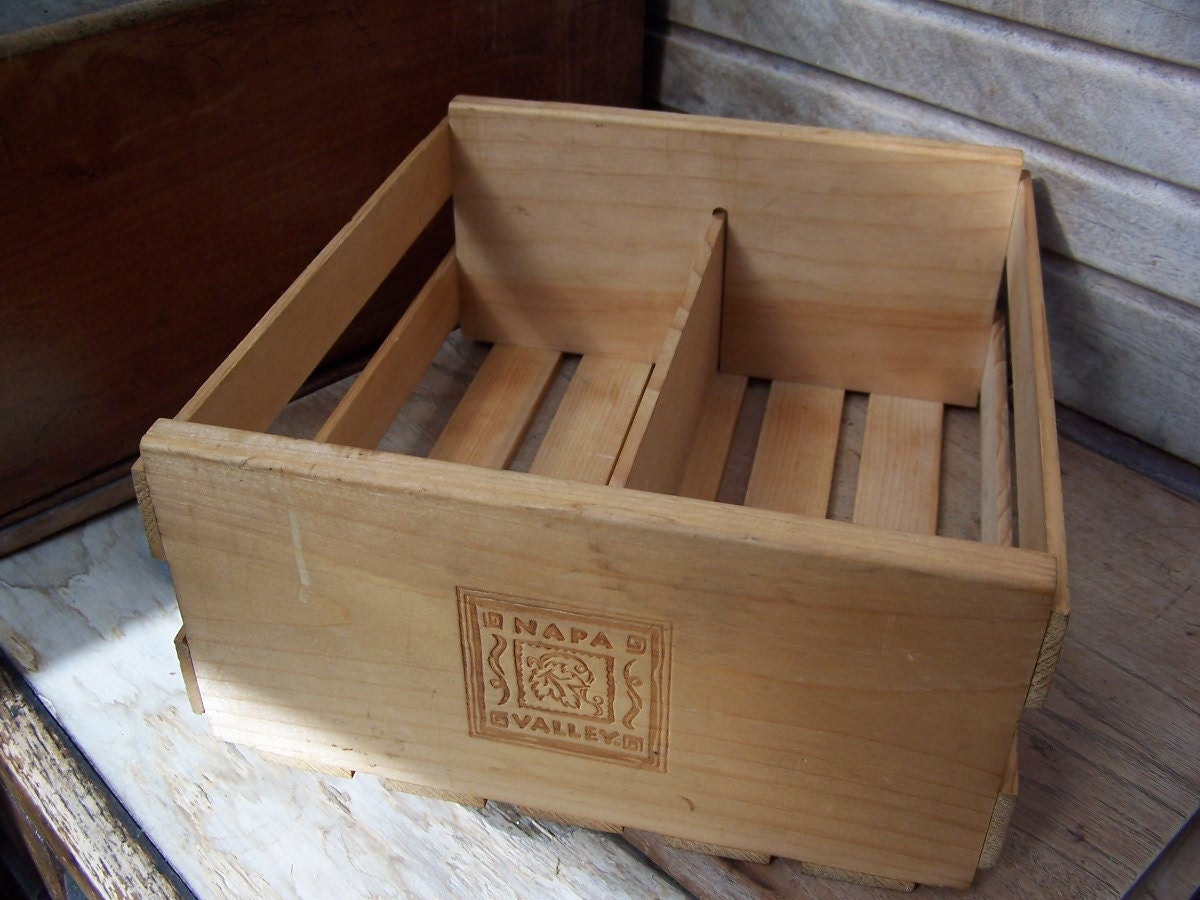 Vintage wooden napa valley crate rustic home d cor storage for Napa valley home decor