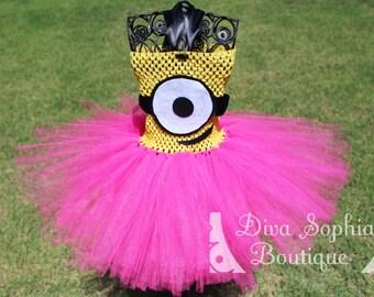 Pink Minion Tutu Dress/ Minion Costume