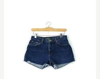 SUMMER SALE Free Shipping!! Ralph Lauren Cut off  Denim Shorts from 90's/W26*