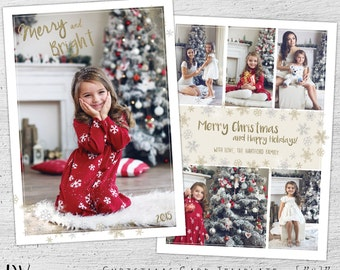 Photo Christmas Cards, Holiday Photo Postcard, Christmas Photo Card, Christmas Card Templates, Photoshop Template, Photographer, Glitter