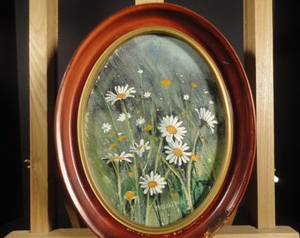 VINTAGE WATERCOLOR PAINTING Original Floral Art White Wild Daisy Flower Decor Oval Frame Impressionist Rustic Bernard Gerstner Listed Artist