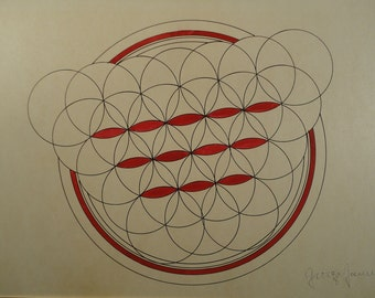 Geometric Abstract Drawing Pen and Ink Vintage Art Original Geometrical Signed Modernist American Decor Unique Artwork Interlocking Circle