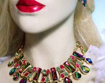 Rhinestone Crystal Statement Choker Necklace Earring Set Vitrail Pageant Drag