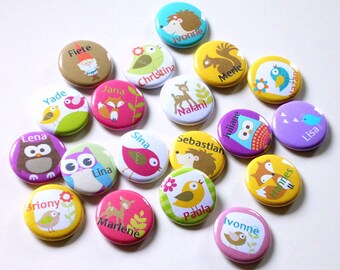 Buttons * birds * your name (12Stck)