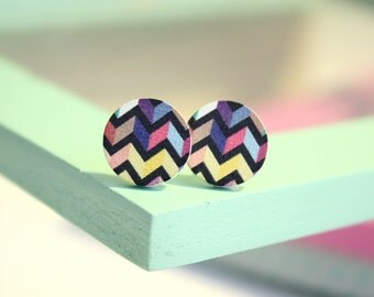 Wood * zigzag earrings *.