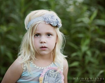 Grey Flower Headband,Lace Baby Headband,Fall Grey Headband for girls and babies