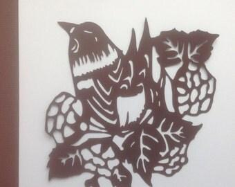 Die Cut Silhouette Art/Ready to Frame/Bird on a Bush