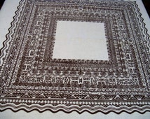 """Vintage 1960s Brown on White Tiki Tablecloth, 42 x 44"""", Thick Cotton, Excellent Condition"""