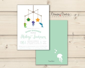 Under the Sea Baby Shower Invitation - Mobile Shower Party Invite - Simple Baby Shower - Digital File
