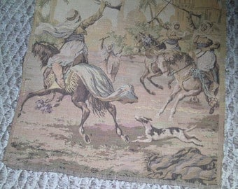 Antique Belgium tapestry hunting party scene