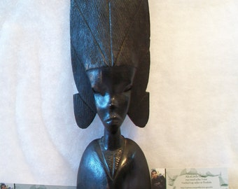 Vintage Carved Wooden Statue Tribal Ethnic African