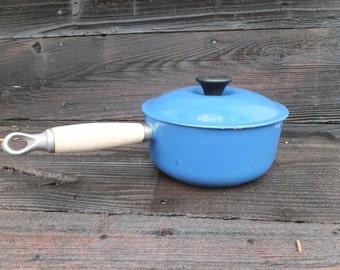 Vintage Le Creuset Cookware Pot with Lid, Marked 18, Blue Le Creuset Cast Iron Pot with RARE Wooden Handle