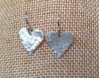 Handmade sterling silver heart drop earrings