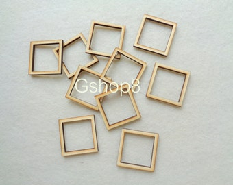 Unfinished wood Geometric Pendants, 10 Laser cut Square Tile for Jewelry, Geometric Jewelry,