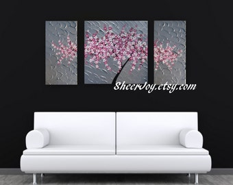 "cherry blossom wall art, cherry blossom painting, japanese cherry blossom, pink cherry blossom, with blossoms, pink blossoms, 48"" x 24"""