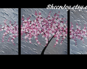 "paintings on canvas, triptych paintings, canvas art, nursery art, pink and gray art, pink and grey art, cherry blossom, 48"" x 24"""