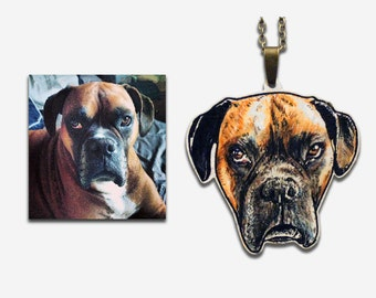 Custom illustrated pet portrait necklace, created from your photographs, cats / dogs / horses etc