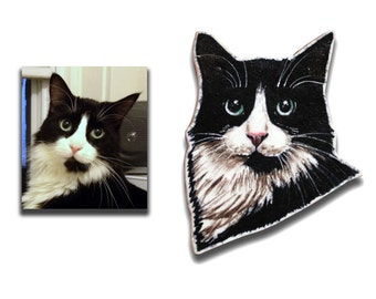 Custom illustrated pet portrait brooch, created from your photographs, dogs / cats / horses etc
