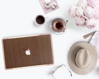 """Platinum Natural Series Marine Teak Wood Grain and Rose Gold Detailing Hybrid Hard Case for Apple Mac Air & Mac Pro Retina, Macbook 12"""""""